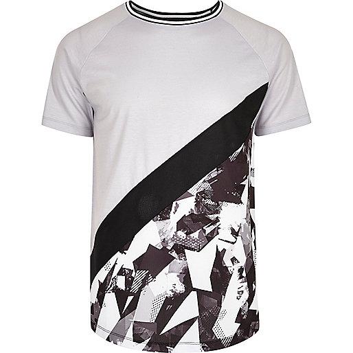 Grey abstract print panel slim fit T-shirt