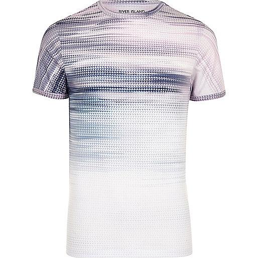 White glitch fade print T-shirt