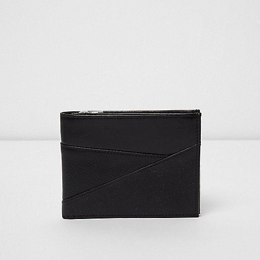 Black leather textured panel wallet