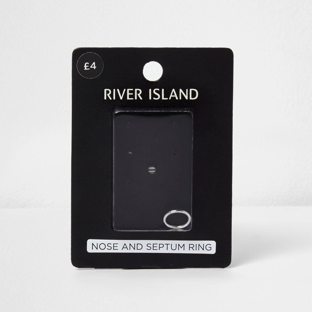 Silver tone nose and septum ring