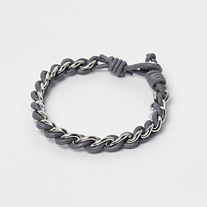 Grey thread through chain bracelet