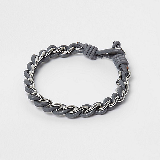 Grey thread through chain bracelet