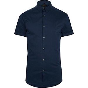 Kurzärmliges Muscle Fit Hemd in Blau
