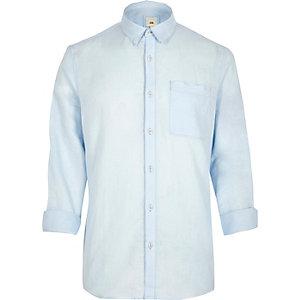 River Island Mens Light Blue Linen Blend Long Sleeve Shirt