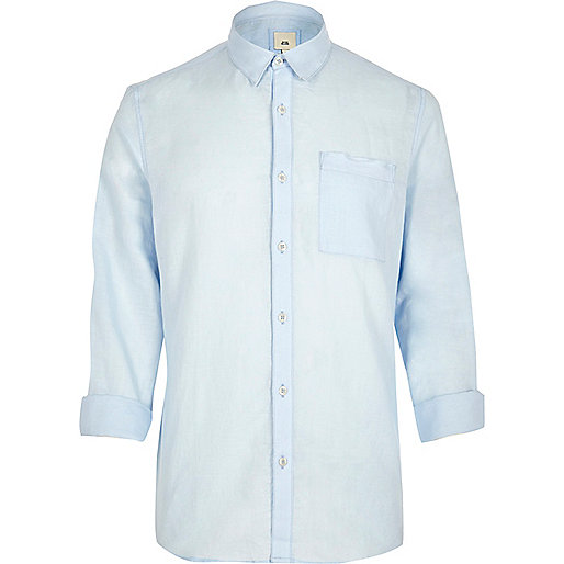 Light blue linen blend long sleeve shirt