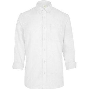 Langärmliges weißes T-Shirt aus Leinenmischung