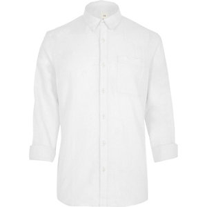 White linen blend long sleeve shirt