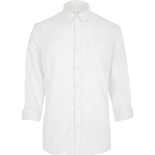 White linen blend long sleeve shirt
