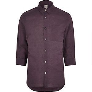 Rotes, langärmliges Hemd aus Leinenmischung