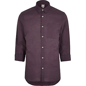 Red linen blend long sleeve shirt