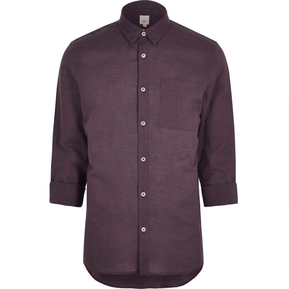 Purple linen blend long sleeve shirt