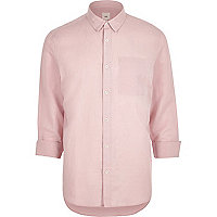 Pink linen-rich long sleeve shirt