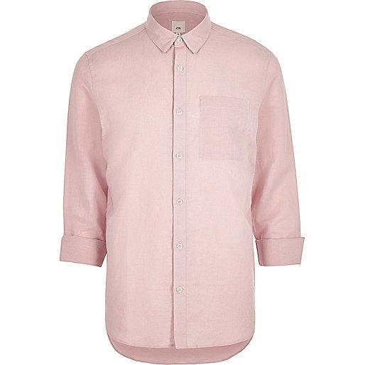 Pink linen-rich long sleeve shirt