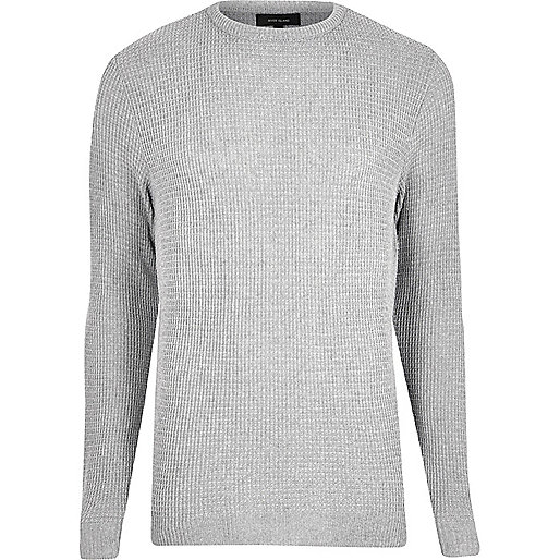 Grey textured knit jumper