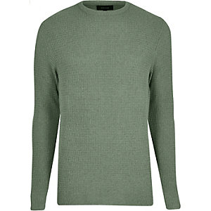 Light green textured knit jumper