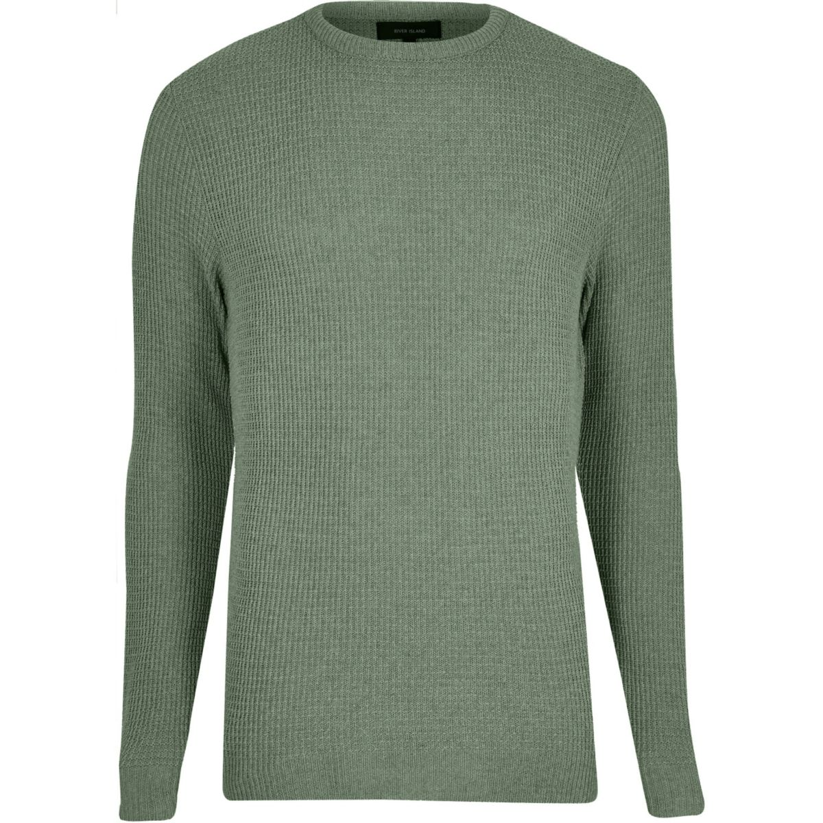Light green textured knit jumper