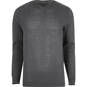 Grey textured knit V neck slim fit jumper