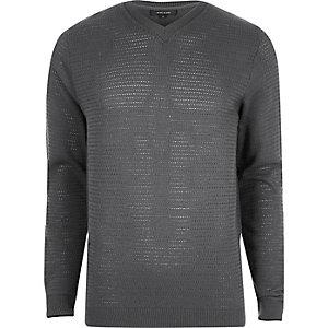 Grijze gebreide slim-fit pullover met textuur en V-hals