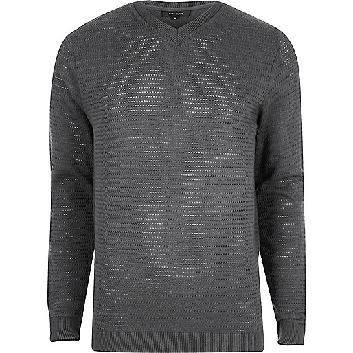 Grey textured knit V neck slim fit jumper