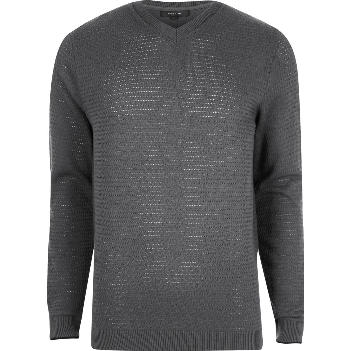Grey textured knit V neck slim fit sweater