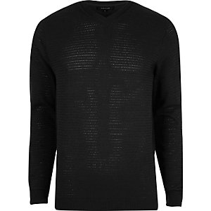 Pull noir texturé slim à col en V