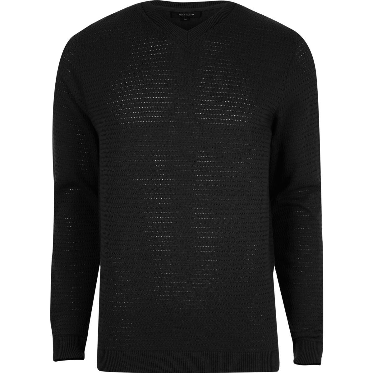 Black textured knit V neck slim fit sweater
