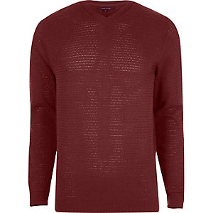 Red textured knit V neck slim fit jumper
