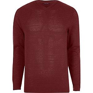 Red textured knit V neck slim fit jumper