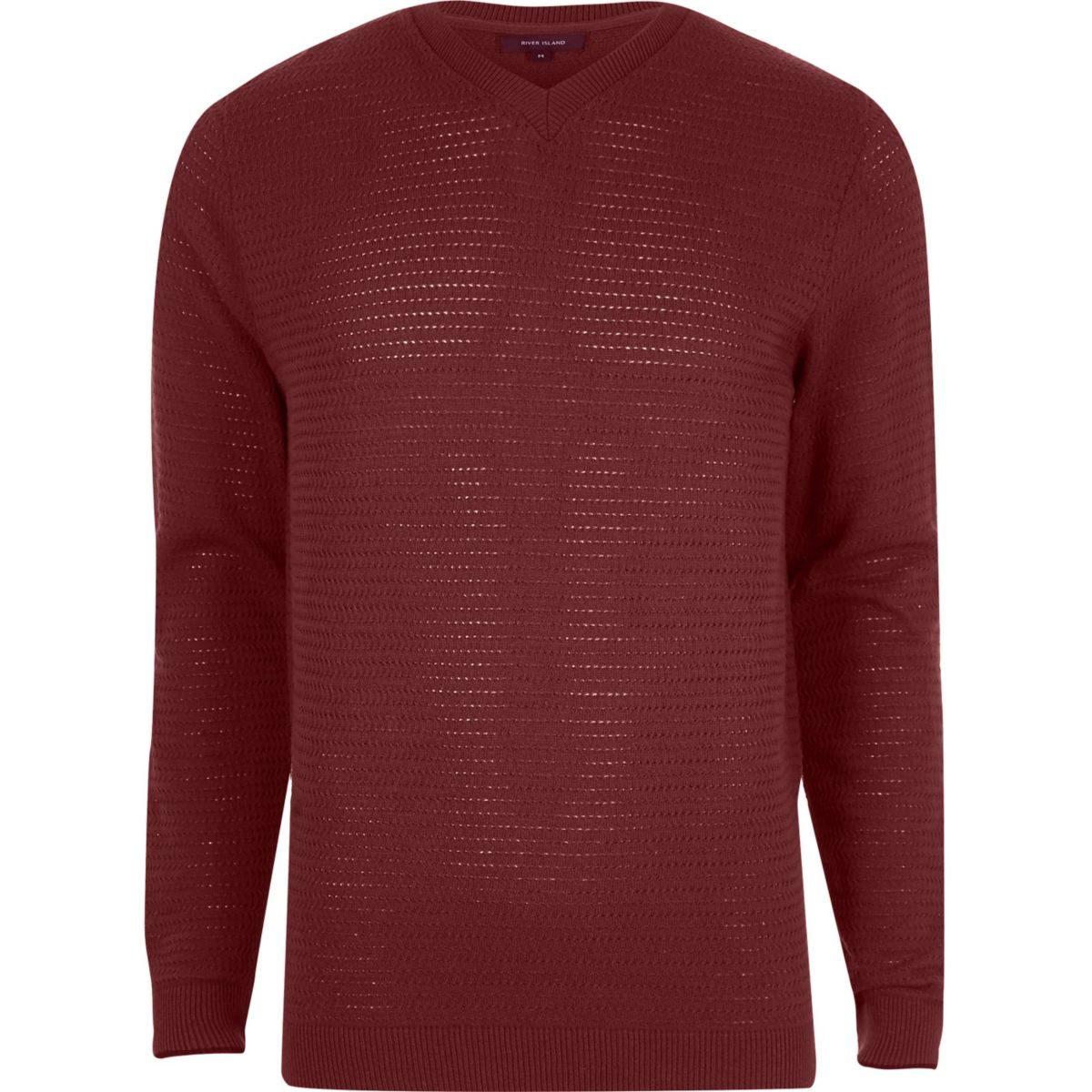 Red textured knit V neck slim fit sweater