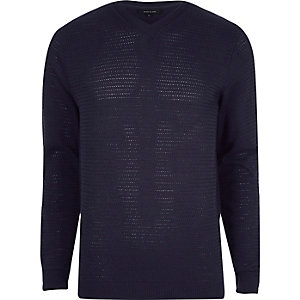 Navy textured V neck slim fit sweater