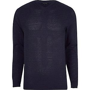 Marineblauwe slim-fit pullover met textuur en V-hals