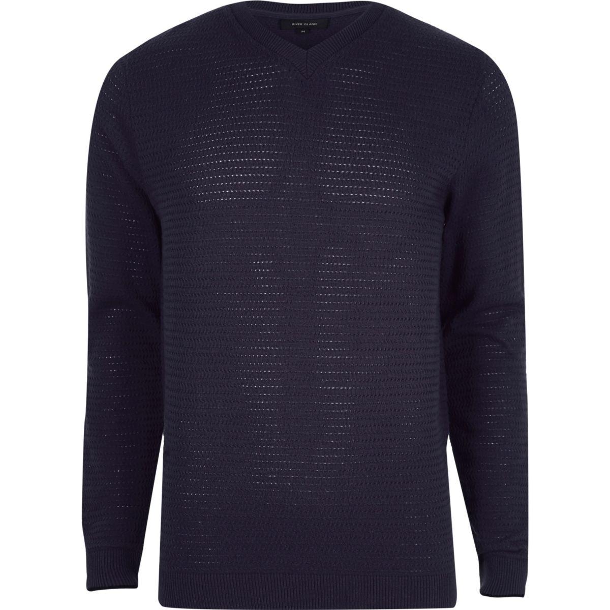 Navy textured V neck slim fit sweater