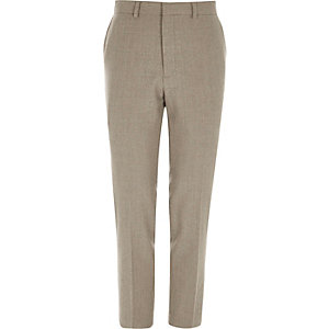 Pantalon de costume skinny en laine mélangée grège