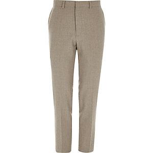 Kiezelkleurige skinny-fit pantalon van wolmix