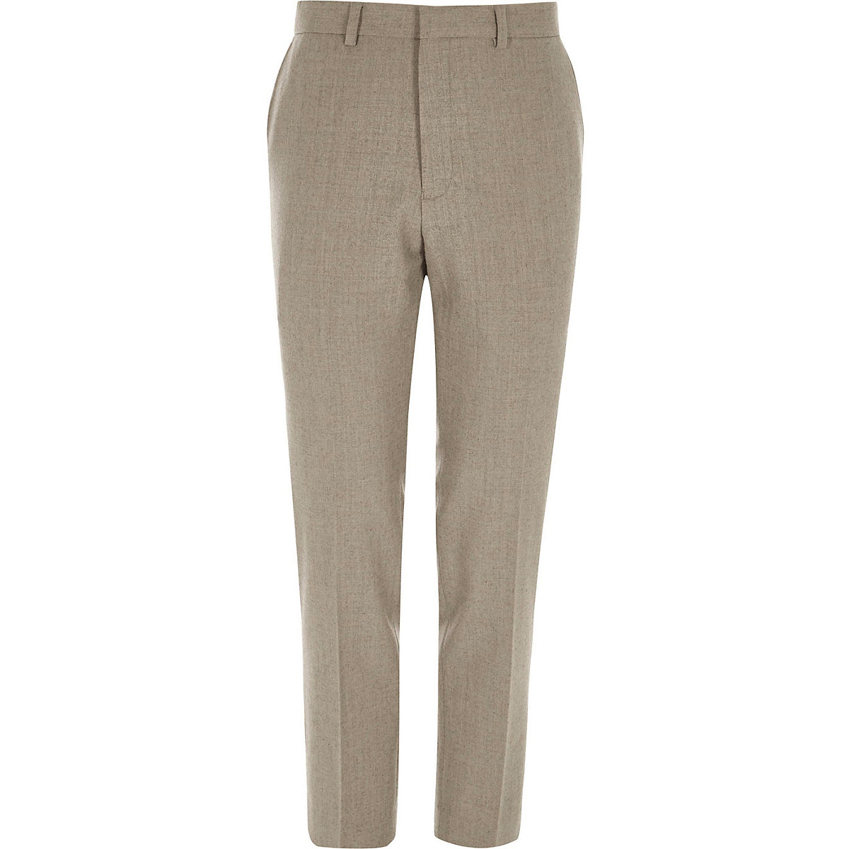 Stone skinny fit wool blend suit pants