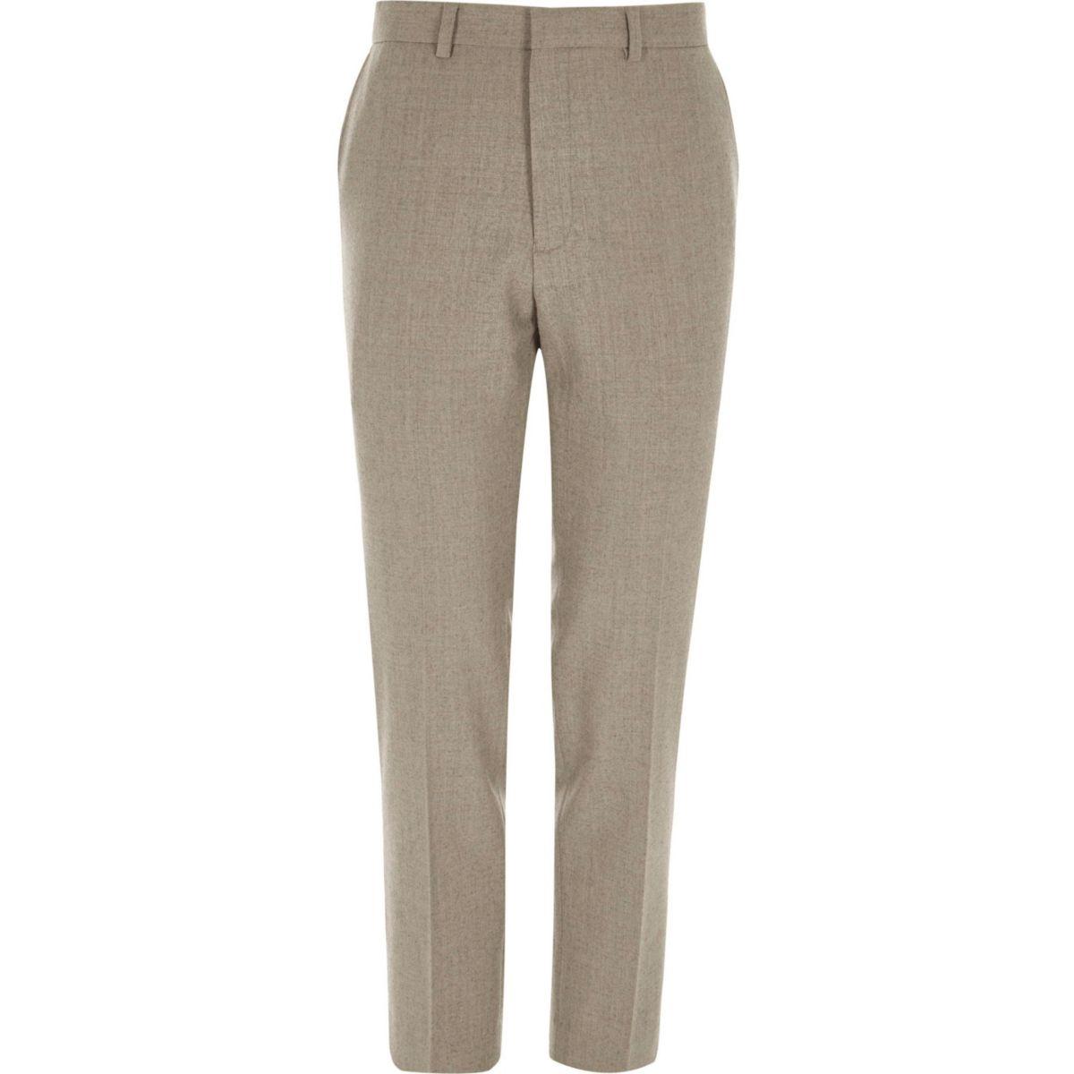Stone skinny fit wool blend suit pants