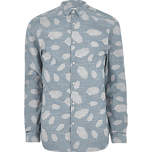 Navy Jack & Jones Premium leaf print shirt