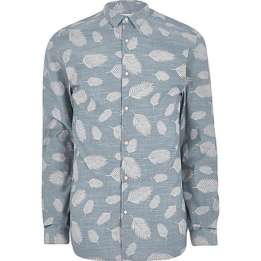 Navy Jack & Jones Premium leaf print shirt