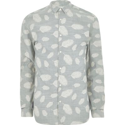Jack and Jones Grijs premium overhemd met bladprint