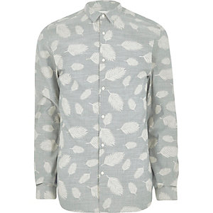 Grey Jack & Jones Premium leaf print shirt