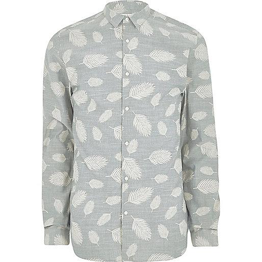 Grey Jack & Jones Premium leaf print shirt