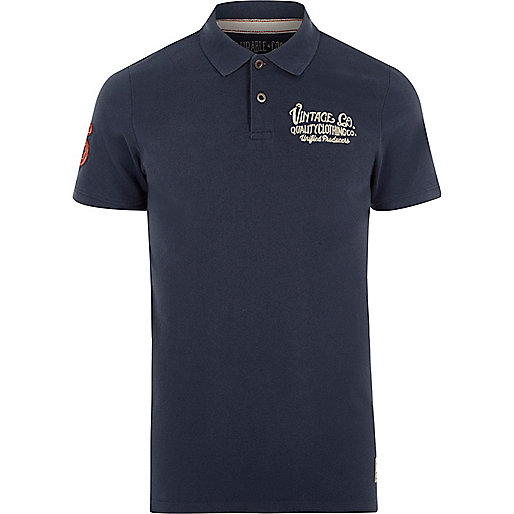 Blue Jack & Jones Vintage print polo shirt