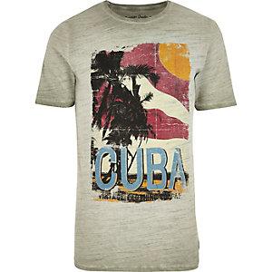 Grey Jack & Jones Vintage 'Cuba' T-shirt