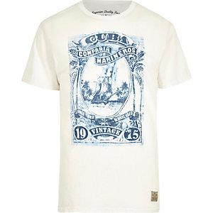 White Jack & Jones Vintage print crew T-shirt