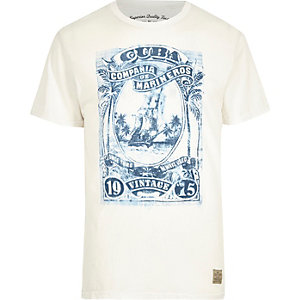 White Jack & Jones Vintage print crew T-shirt