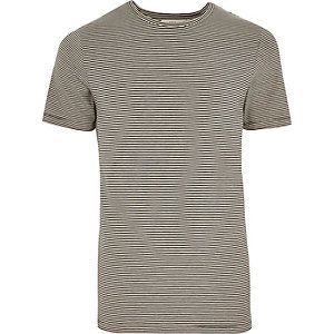 Grey Jack & Jones Premium stripe T-shirt