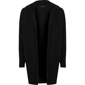 Black tapered hooded longline cardigan