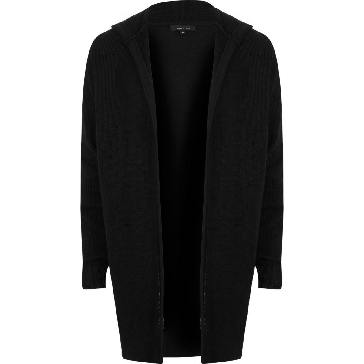 Black hooded longline cardigan