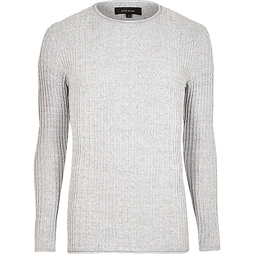 Light grey rib knit crew neck jumper