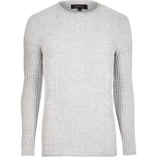 Light grey rib knit crew neck sweater